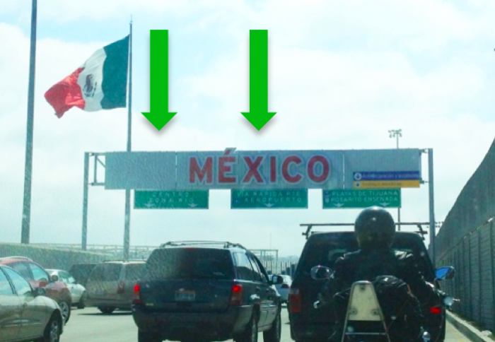 3. Follow traffic to make a left turn to approach the border.
