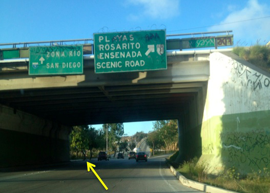 4. After taking the off ramp, get over to the left, following lanes for SAN DIEGO/ZONA RIO and continue on the road up the hill.