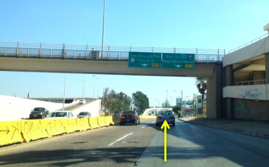 6. You will see a sign for SAN DIEGO I-5/PASEO DE LOS HEROES. Get in the right lane.