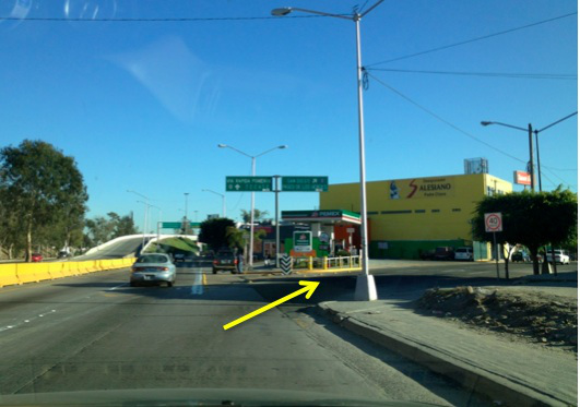 7. Turn off to the right of the PEMEX station, following signs for SAN DIEGO I-5/PASEO DE LOS HEROES.