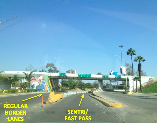 9. The border entrance will be straight ahead. For regular border lanes, you will need to be in one of the two far left lanes (the signs can be confusing, just remember to stay to the LEFT of the concrete barrier). For SENTRI or Fast Pass, you will follow signs for Col. Federal, going just to the RIGHT of the concrete barrier.