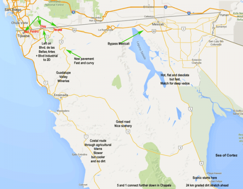 Baja border crossings map - motorcycle
