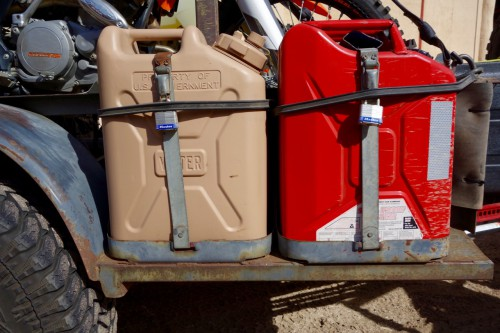 motorcycling baja, motorcycle trailer fuel and water containers