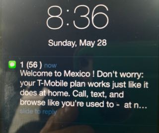 T-Mobile Welcome to Mexico message