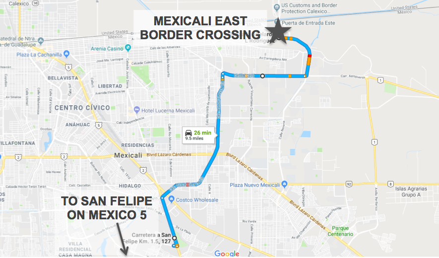 Mexicali_east_border_crossing_directions_map