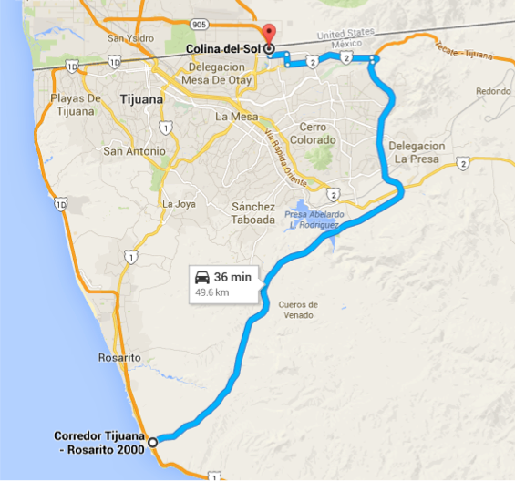 Otay Mesa SENTRI Directions Map