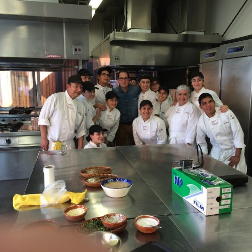 Sam with students at the Culinary Art School in Tijuana
