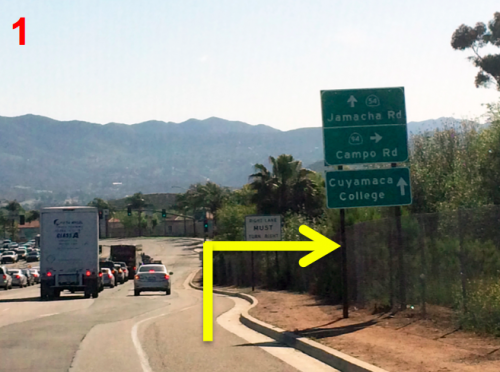 1. Take the 94 east. Turn right at Jamacha Junction in Spring Valley to continue east on the CA-94E/Campo Road.