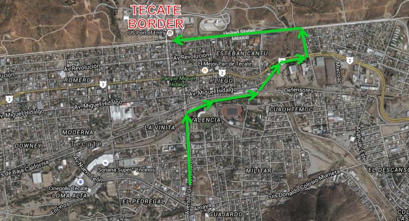 Tecate Border Driving Directions