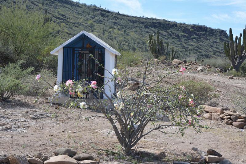 Abandoned ranchita with shrine