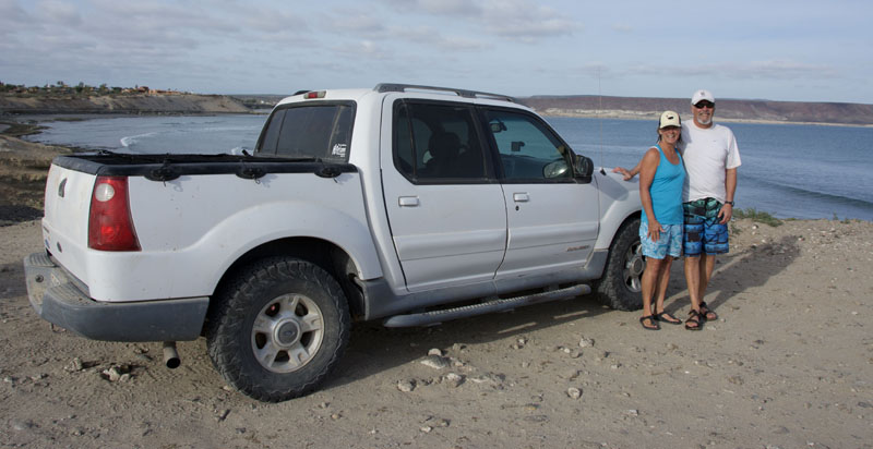 Wendy and Rob in San Juanico, in the Explorer that followed me on the East Road