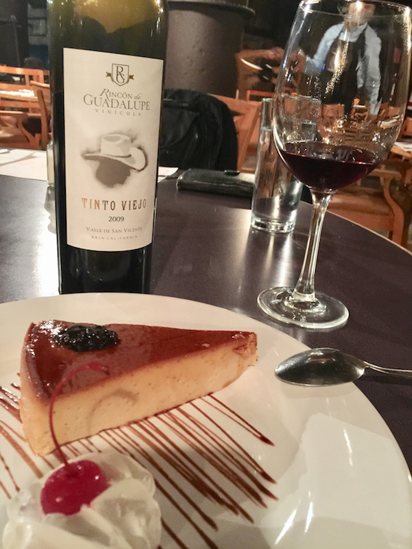 Flan and wine at Restaurante Bar Molino Viejo