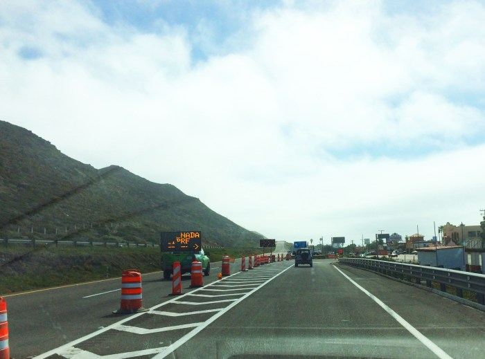 1. Continue southbound on the toll road from Rosarito heading to Ensenada. Around km 59.5, at the Alisitos exit (for La Fonda), you will be directed off of the toll road on a ramp to the right.