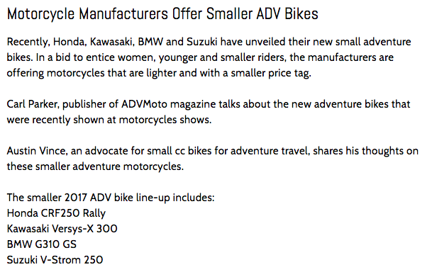 Small adventure motorcycles