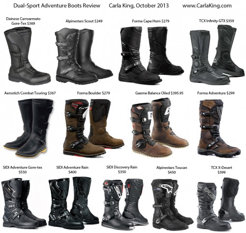 Dual-sport adventure motorcycle boots