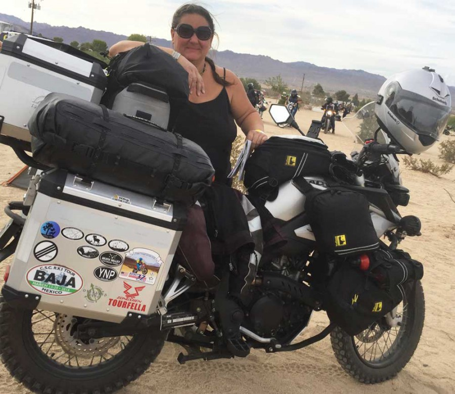 Sara on her CSC 250 Cyclone Adventure Motorcycle