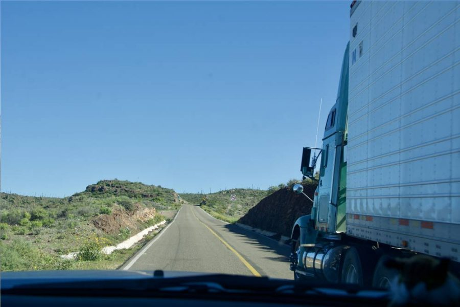Passing a truck in Baja, Carla King